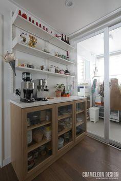 [시공사례] 철산 두산위브 / 24평 / 구정 브러쉬골드 애쉬브라운 / 따뜻한 우드 포인트 인테리어 / interior by 카멜레온 디자인 : 네이버 블로그 Contemporary Design, Liquor Cabinet, Bedroom, Storage, Interior, Kitchen, House, Furniture, Home Decor