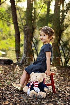 Children, Christmas, photoshoot, child photography, red, vintage stool, teddy bear photo, little girl posing