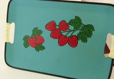 Strawberry Tray Mid Century Modern Tray with Strawberries and Green Leaves, Blue with Black Border, Faux Wicker Wrap Handles Mod
