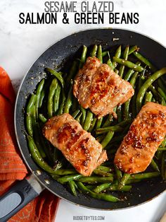 Sesame Glazed Salmon dinner is faster than take-out and more impressive than a white cloth restaurant. Step by step photos. Sesame Glazed Salmon and Green Beans - BudgetBytes.com