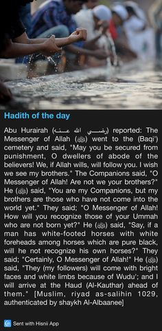 Prophet Muhammad (Salallahu Alaihi Wasallam) will recognise His Ummah on the Day of Judgement due to our bright faces and white limbs due to Wudu. Prophet Muhammad Quotes, Hadith Quotes, Quran Quotes, Qoutes, Islam Hadith, Allah Islam, Islam Quran, Alhamdulillah, Islamic Phrases