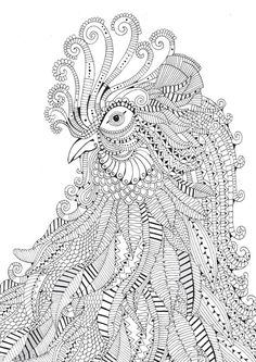 Adult Coloring Pages: Rooster 3                                                                                                                                                                                 More: