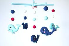 Nautical Nursery Decor - Navy Blue Whale Baby Mobile by OolyWooly on Etsy