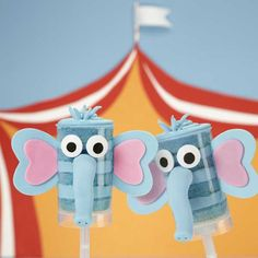 "Have you ""herd"" about a fun treat everyone will love to eat? Treat pops! And, these elephant-inspired ones are great to serve for animal-themed birthday parties. Use melted Candy Melts candy to attach accents to the outside of the Treat Pops."