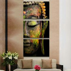 - Description - Details Our Special Edition 3 Piece Buddha Abstract Painting on Canvas is a unique artwork. This magnificent Buddha painting reminds us to strive to develop peace and love within ourse