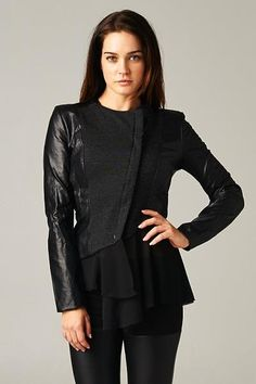 Hommage Black Jacket! www.soleiboutique.com Chiffon Jacket, You Look Beautiful, Fall Collections, Boutique, Ruffle Blouse, Leather Jacket, Jackets, Black, Tops