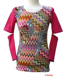 """t-shirt """"Crazy Patch""""! Fuchsia shirt made from stretch jersey. Front processed with colorful fabric in patchwork Obtik. The highli. Single Piece, Bunt, Chevron, Patches, Etsy, Blouse, Clothes, Party, Tops"""