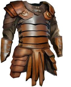 Is plate mail armor stronger/tougher or harder than leather armor? Fantasy Armor, Fantasy Weapons, Medieval Fantasy, Studded Leather Armor, Magic Armor, Plate Mail, Types Of Armor, How To Make Leather, Armor Clothing