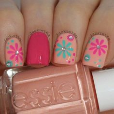 Pink and blue floral summer nailart