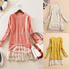 Wholesale Womens Slim Vintage Lace Hem Sweater Stitching off Two Knitting Wool Clothes, $17.05/Piece | DHgate