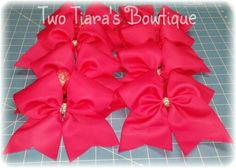 Pink out cheer bows for Hennessey High School varsity squad by Two Tiara's Bowtique on Etsy or Facebook as TwoTiaras Bowtique for more options.