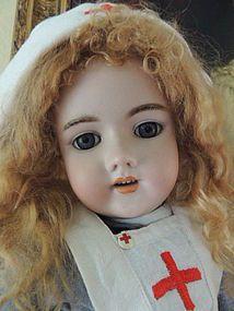 Handwerck 109 Antique German Bisque Doll, 25 IN, Antique Nurse Doll - Ashley's Dolls #dollshopsunited