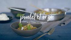 Poulet et orzo aux tomates cerises Quebec, Confort Food, Allrecipes, Quinoa, Risotto, Serving Bowls, Chicken Recipes, Food Porn, Eat Healthy