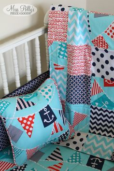 Custom Made Bedding in Ahoy Matey (red, aqua, navy) available from MissPollysPieceGoods https://www.etsy.com/listing/201060324/custom-baby-crib-bedding-design-your-own #bedding #misspolly #pillow #blanket #nautical