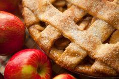 Apple pie with lattice crust stock photo