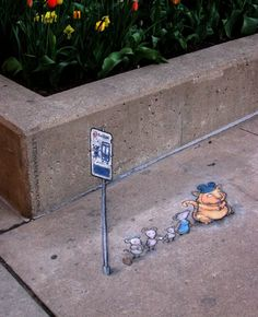 Apparently, there's a mice line that stops at the northwest corner of William & Main; I'm guessing it's an express bus to the Creamery. Commute by bus! You might be surprised by who you meet. Ann Arbor, Michigan (May 2, 2013) - street art by David Zinn