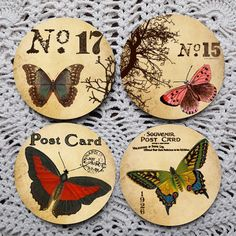 Flutter By  Vintage Butterfly Illustration Mousepad coaster set coasters by Polkadotdog