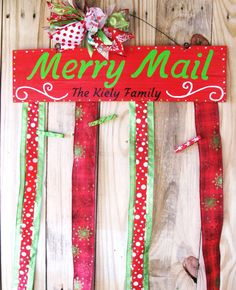 Merry Mail Christmas Card Holder Merry Mail by TallahatchieDesigns