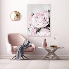 Minimalist Peony Print Pale Pink Peonies Photography