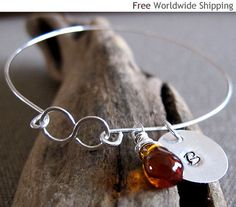 Items similar to Personalized Initial Bangle w/h wire wrapped drop bead. Infinity Bangle with Charms on Etsy Handmade Sterling Silver, Sterling Silver Earrings, Bangle Bracelets With Charms, Bangles, Homemade Jewelry, Fashion Jewelry, Unique Jewelry, Etsy, Wire