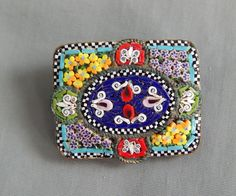 Antique Victorian Micro Mosaic Flower BRooch Pin Made in Italy