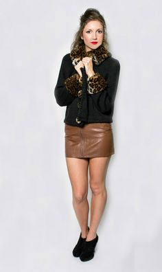 The Spot On Sweater  #vintage #vintagesweater #leopard #leopardsweater #leatherskirt #zipup #hipster #grunge #messyhair #fauxfur #furcoat #vintagefur #leopardfur #fallfashion #layering #anklebooties #redrosevintage