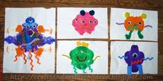 Make fun monsters by folding paper to make paint blobs and then add eyes, pipe cleaners, ric rac, etc.