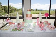 Rose Gold Princess Party - Cake By https://www.facebook.com/idometoo.june/.  Cupcakes By F Mitchell.