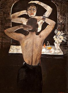 Night 1935 by Alexander Deineka Mirror Art, Mirror Image, Francis Picabia, Socialist Realism, Art Deco, Best Portraits, Jewish Art, Reproduction, Through The Looking Glass