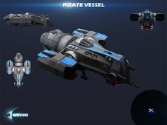 Pirate Vessel. One of the first planned DLCs for #fivenations that can be purchased. Although it's a solid spacecraft with heavy weaponry it does not have any energy shield that makes it fairly vulnerable. #gamedev #indiedev #html5games #indiegames #indie #gamedesign #conceptart #artwork #3d #render