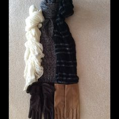 ❤️GLOVE AND SCARF BUNDLE❤️ Great value!!  EXCELLENT condition!  Two pairs of gloves, one brown made of 80% nylon, 20% Lycra spandex.  One size.  Other pair is tan, size 7, genuine leather with 100% polyester lining.  Three scarves, one cream color with gold threads for accent, by Apt. 9.  One is shades of gray with sequins, Apt. 9.  One is a black infinity scarf with sequins and light gray accent threads. Accessories