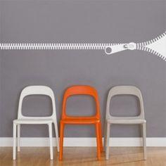 Giant Zipper Wall Decal White
