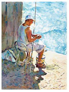 "Corner fishing by Graham Berry Watercolor ~ 16"" x 12"""