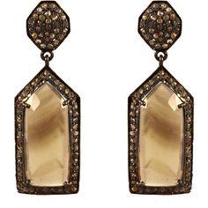 ADORNIA Smoky Topaz and Champagne Diamond Cassandra Earrings (1 920 LTL) ❤ liked on Polyvore