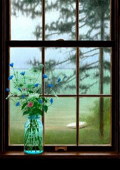 I love this picture ~ flowers in mason jar ~ raining outside