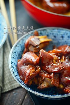 中文菜谱: 红烧猪蹄 Red braised pork feet. Bizarre? Check. Delicious? Check. You don't have to be Andrew Zimmer to find pork feet can be quite tasty too. A well prepared pork feet dish (like mine, O(∩_∩)O~) doesn't have any swinish smell or taste. Pork feet don't have much meat as other pork Pork Recipes, Asian Recipes, Dog Food Recipes, Savoury Recipes, Crockpot Recipes, Chinese Pig Feet Recipe, Pork Feet Recipe, Pork Trotter Recipe, Trotters Recipe