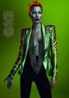 Glam Rock look - think David Bowie (originally from Vogue Paris May 2011 by Mert & Marcus / Kate Moss) studded blazer gold leather future forward fashion Foto Fashion, Fashion Shoot, Editorial Fashion, Fashion Beauty, Trendy Fashion, Street Fashion, Fashion Mag, Asos Fashion, Fashion Finder