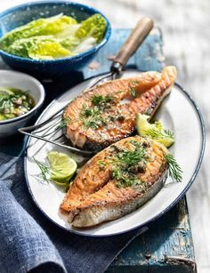 Salmon steaks with caper and anchovy salsa http://www.sainsburysmagazine.co.uk/recipes/mains/fish-and-seafood-2/item/salmon-steaks-with-caper-and-anchovy-salsa