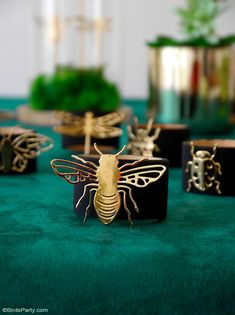 A Botanical Tablescape with 5 DIY Projects - easy crafts to help decorate a gorgeous Entomology inspired table for any party or celebration! #diy #carfts #diycrafts #tablescape #tabledecor #tabletop #tablesetting #insects #wedding #entomology #botanicaltable #dinnerparty #adulthalloween #halloweentable Straw Decorations, Diy Party Decorations, Festive Crafts, Easy Crafts, Birthday Photo Background, Botanical Decor, Bird Party, Halloween Table, Pillow Box