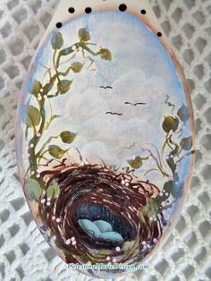 Bird Nest in the Sky Hand Painted Large by CelestinaMarieDesign