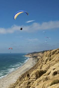 San Diego -- The cliffs fronting the Torrey Pines Gliderport provide ideal conditions for tandem paragliding flights.