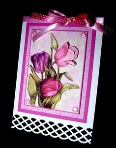 Tulips In The Pink Card & Decoupage Mothers Day Sticky Pads, Pink Cards, Candy Cards, Anna Griffin, Ribbon Bows, Tulips, Decoupage, Jackson, Card Making