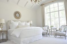 I want my bed to look like this! Clean and comfy! All neutrals...maybe a pop of color here or there!