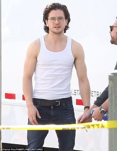 Game on: Kit Harington was flashing much more flesh while filming his latest project - The...