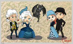Gideon, Gwen, Xemerius, Lucy and Paul fanart
