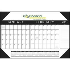 Let your brand stand out in one glance on the 6-sheet, USA-printed 2015 calendar made from water-resistant stone paper. Manufactured without any materials or fibers from trees, this calendar is ideal for use in an environment where moisture could be a problem. The calendar features 2 months per sheet with a span-a-year along the bottom of each sheet. Four vinyl corners are included. Ideal for retailers, manufacturers and insurance companies.