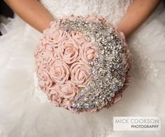 Pink roses get taken to the next level with this incredible crystal floral accessory.