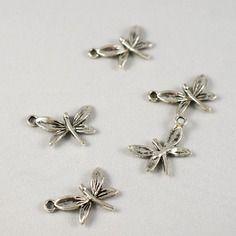 Lot de 5 breloques libellule métal argenté vieilli - 22 x 16mm
