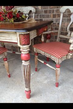 Red white painted table