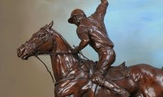 Bronze Horse Sculpture / Equines sculpture by artist Gill Parker titled: 'Off side Forehand (bronze Polo Player and Pony statue/sculpture/figurine)'